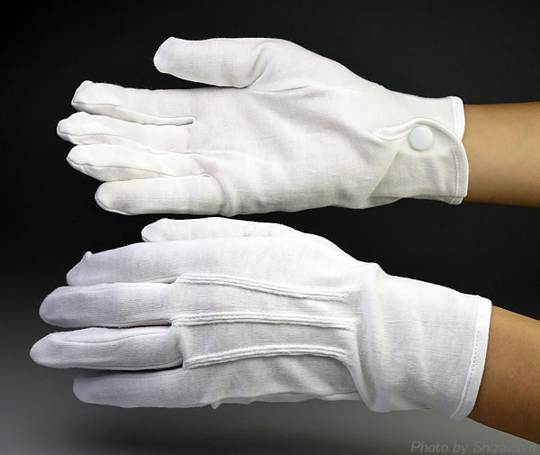 Mens Formal White Cotton Parade Gloves With Snaps Cosy Gloves