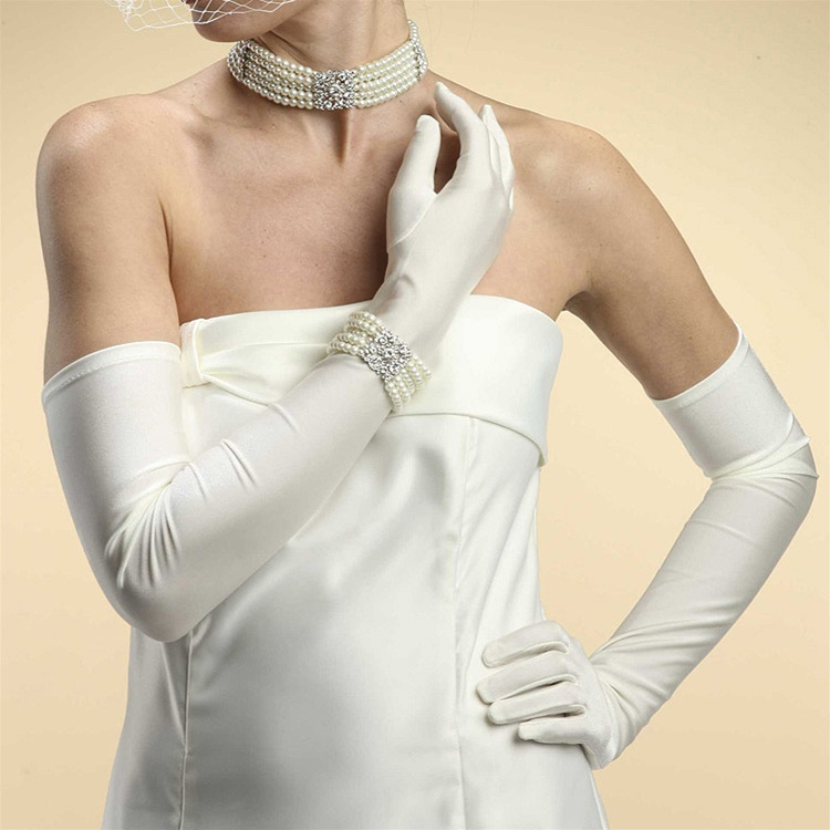 Pretty and rlegant long wedding party satin bridal gloves for Wedding dress with long gloves