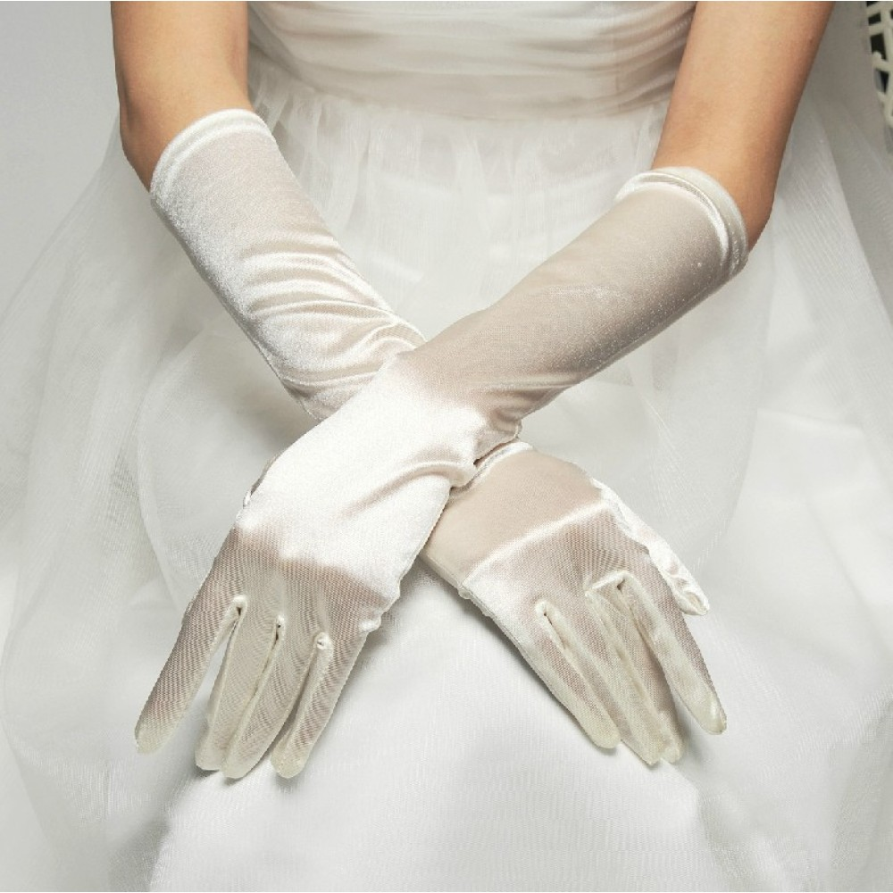 Long romantic wedding bridal gloves stretchy satin sleeves for Wedding dress with long gloves
