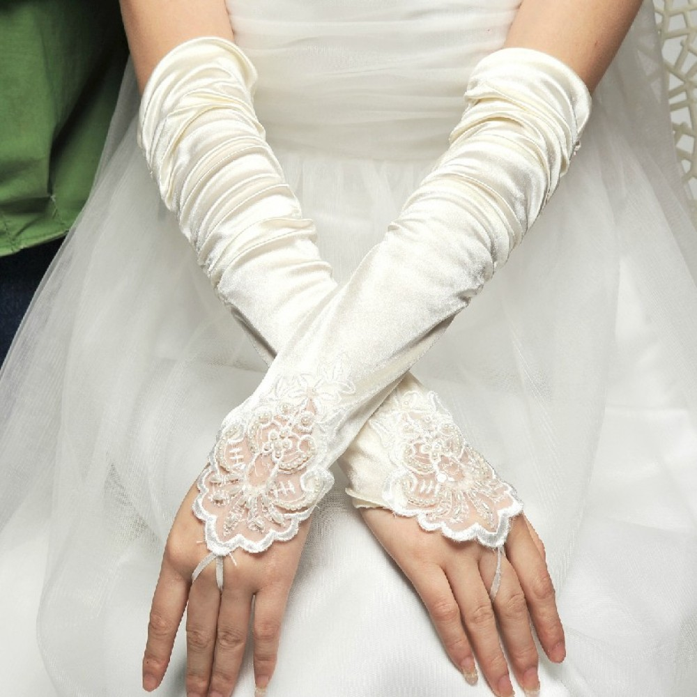 WEDDING DRESS ELEGANT PEARL LACE FINGERLESS BRIDAL GLOVES